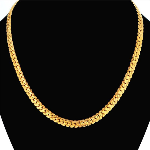 Dropshipping Vintage Punk Flat Snake Chain Link Necklace 5 Sizes Gold Color Neck Chains For Men/Women Jewelry Wholesale Ketting