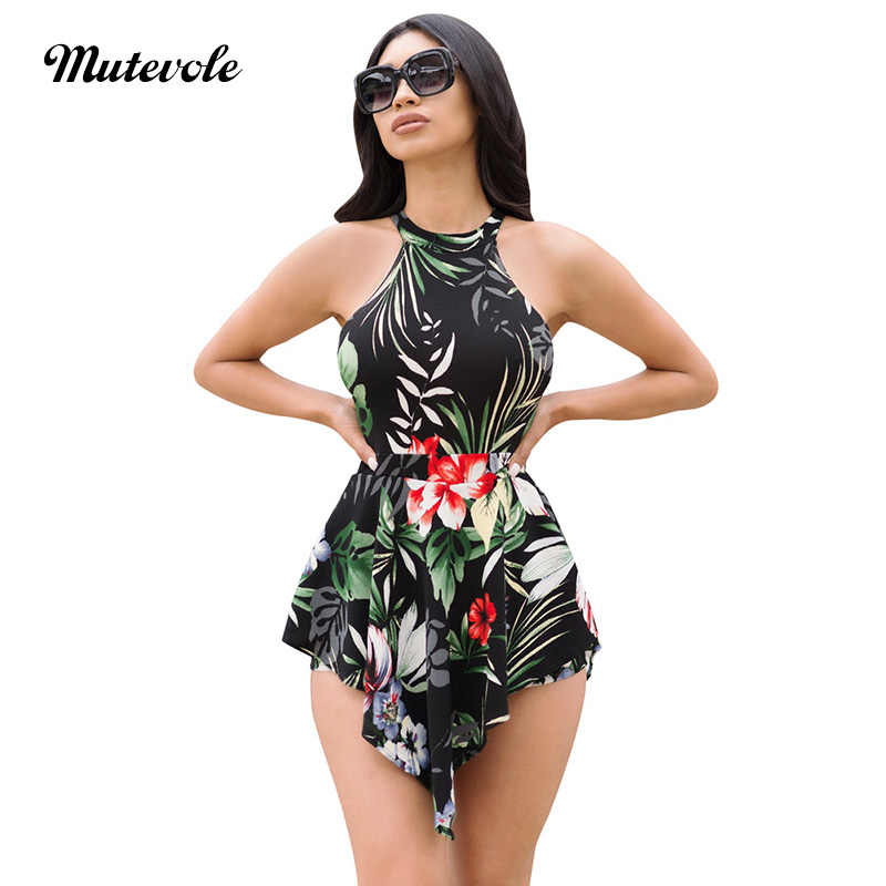 9185c8615e ... Mutevole Summer Floral Print Playsuits Romper Women Casual Sleeveless  Short Jumpsuit Bodysuit Boho Bodycon Sexy Beach ...