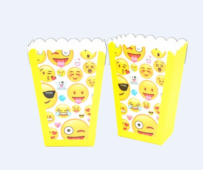 6Pcs Emoji Expression Popcorn Boxes Birthday Party Supplies Birthday Party Decorations Kids Favor Gifts Box Baby Gift Bag
