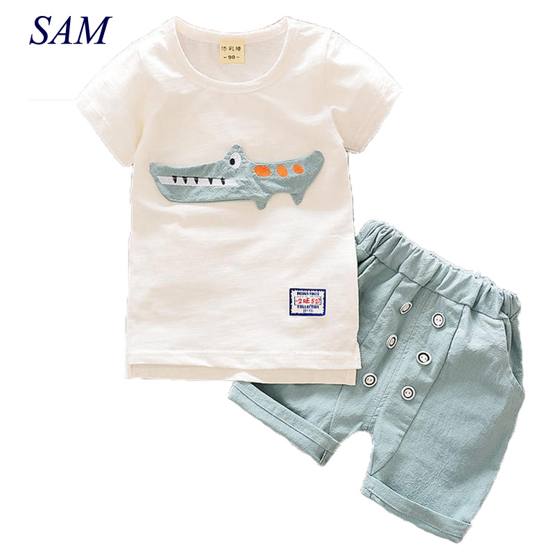 Baby Boys Clothing Suit 2017 Summer Short-sleeved Cotton and Linen T-shirt + Shorts 2pcs Casual Kids Clothes Set