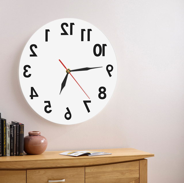 AD)1Piece Reverse Wall Art Decorative Wall Clock Backwards Time ...