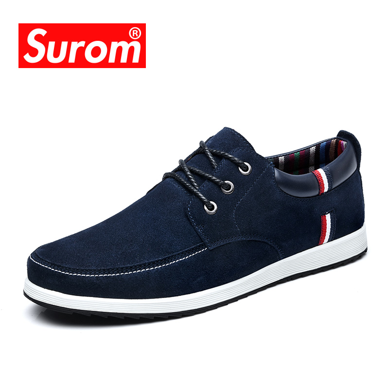 SUROM Men's Leather Casual Shoes Moccasins Men Loafers Luxury Brand Spring New Fashion Sneakers Male Boat Shoes Suede Krasovki(China)