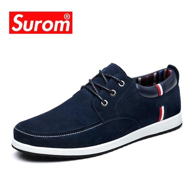 SUROM mannen Lederen Casual Schoenen Mocassins Mannen Loafers Luxe Merk Lente Nieuwe Mode Sneakers Mannelijke Bootschoenen Suede Krasovki
