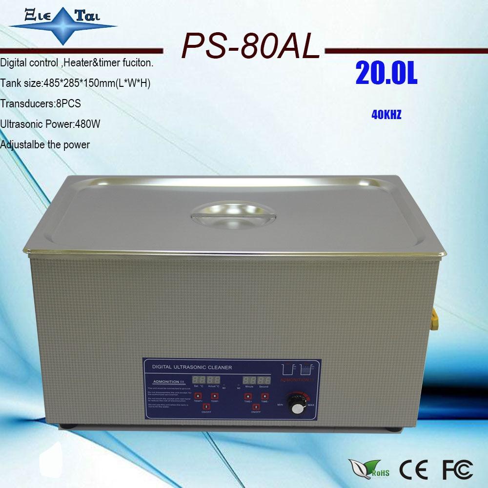 Ev Aletleri'ten Ultrasonik Temizleyiciler'de Ücretsiz kargo 110V/220V PS 80AL 160 480W ultrasonik temizleyici 20L endüstriyel laboratuvar için paslanmaz çelik temizleme makinesi