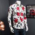 M-5XL Homens Da Camisa Havaiana CD25 Mens Camisas de Vestido de Manga Longa Mens Camisas Florais Chemise Homme Camisa Masculina Sociais