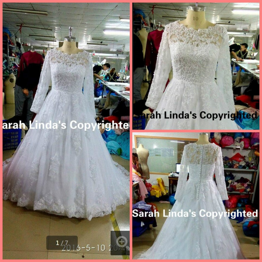 Real Picture 2016 free shipping ball gown appliques beads wedding dresses lace princess long sleeve modest muslim bridal gowns image