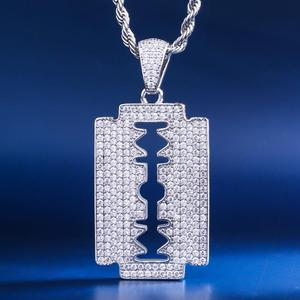 Image 1 - DNSCHIC White Gold Iced Out Double Edged Razor Blade Pendant Hip Hop Necklace Pendant Jewelry for Men Women High Quality