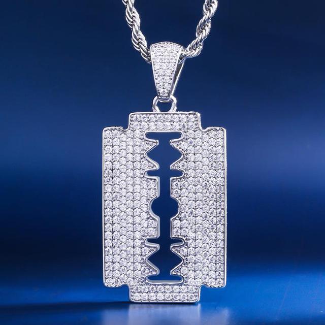 Подвеска с лезвием для бритвы DNSCHIC, ожерелье из белого золота с двойной окантовкой в стиле хип хоп, ювелирные изделия для мужчин и женщин