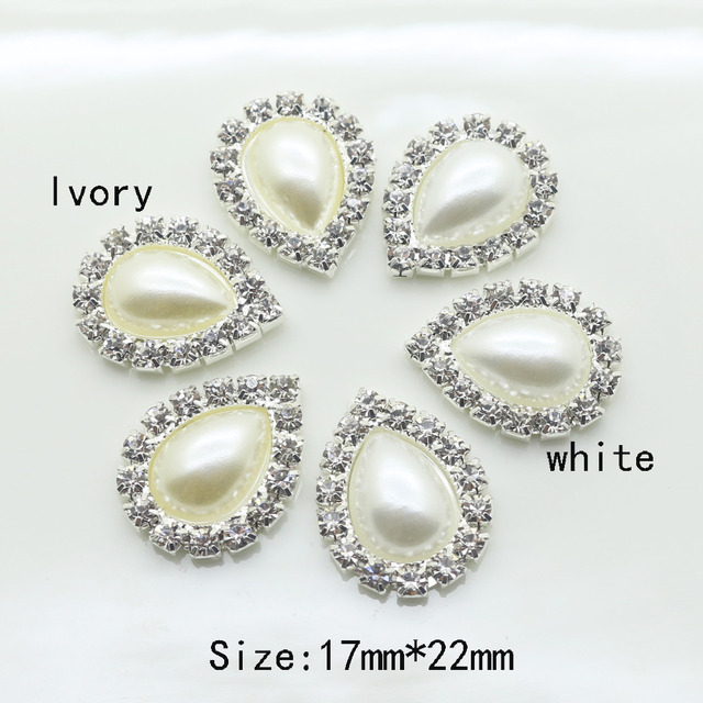 New 10Pc 17 22MM Water Drop Pearl rhinestone Buttons tray cap setting   hair  scrapbookiong wedding celebration party decoration 7f82612188a4