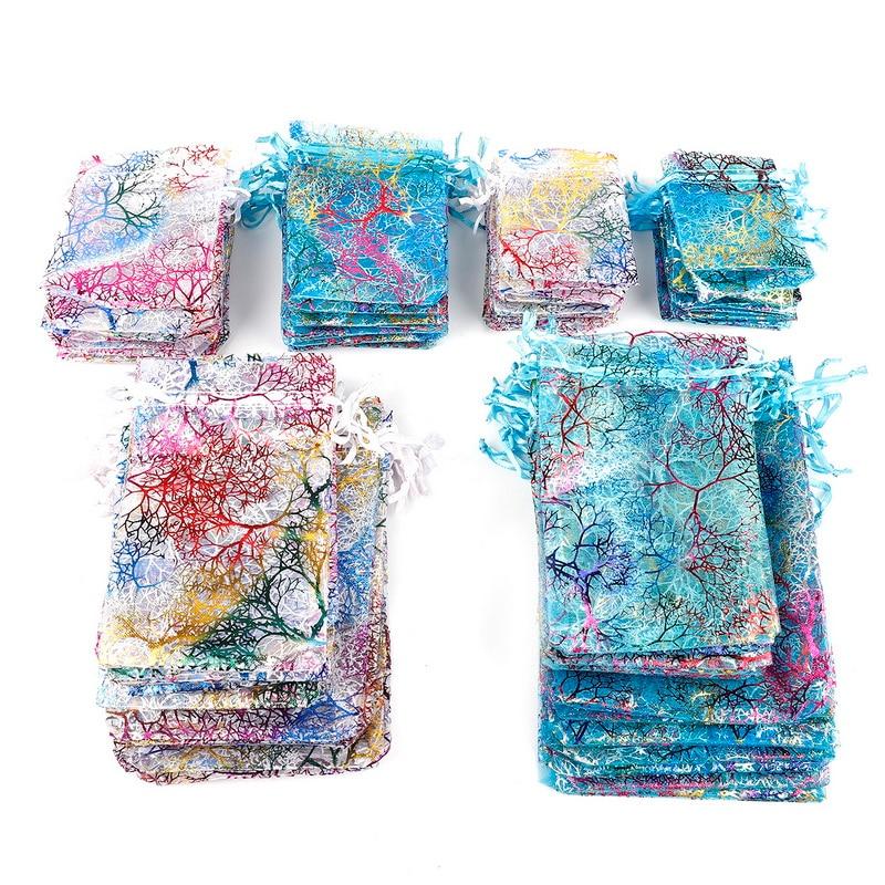 Оптовая продажа, 10 шт., 7x9, 9x12, 10x15, 13x18 см, сумки из органзы на шнурке, белые и цветные сумки для упаковки ювелирных изделий, свадебные подарочны...