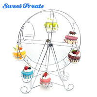 Sweettreats 8 Cup Metal Rotating Ferris Wheel Cupcake and Dessert Stand Holder , Chrome Finish, Updated Larger Cup Size