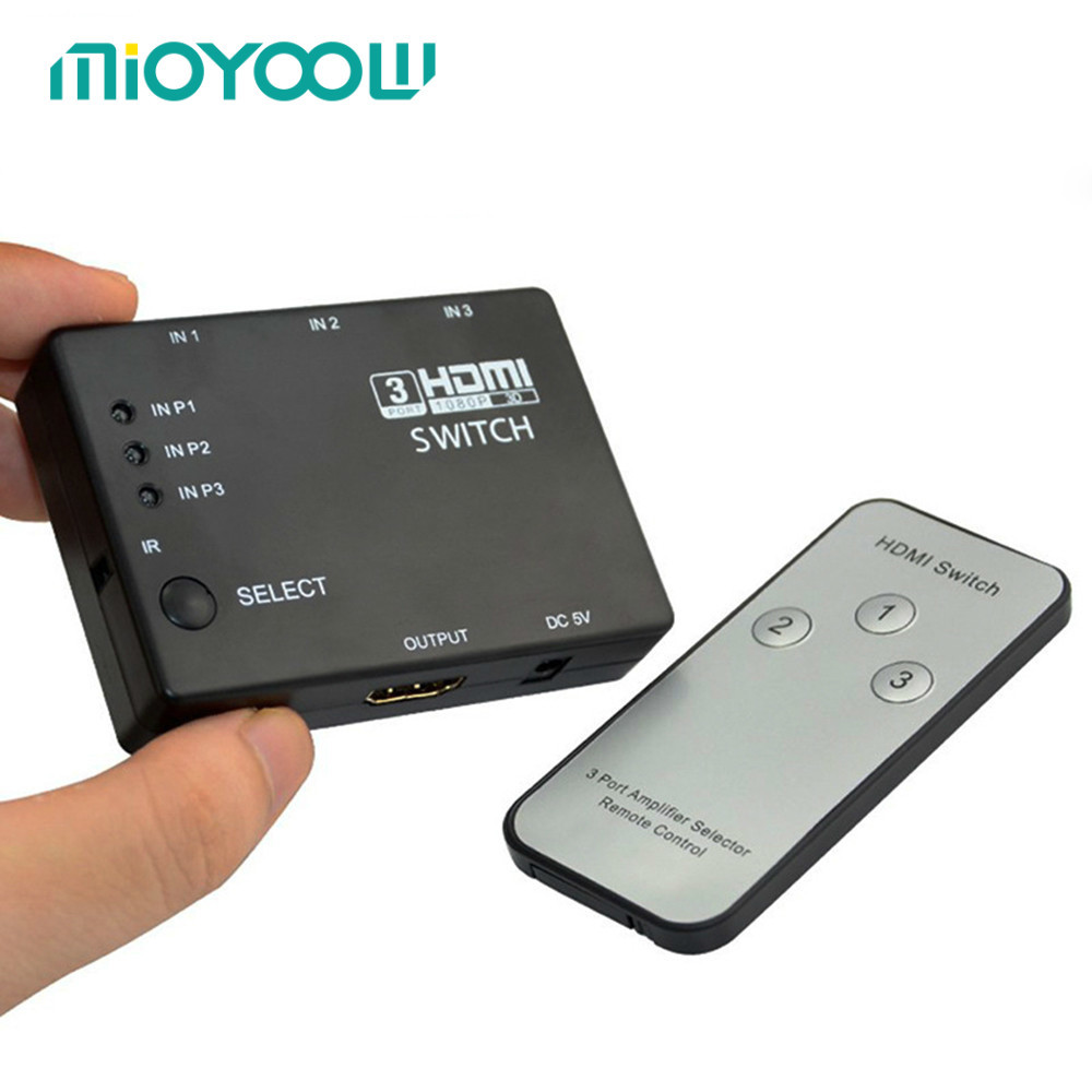 MiOYOOW 3/5 Input To 1 HDMI Switcher Out 1080P Switch HDMI IR Remote Control For PS3 Xbox HDTV DVD TV Projector Not Splitter doitop 4x1 hdmi multi viewer hdmi quad screen real time multi viewer hdmi splitter seamless switcher 1080p 60hz 3d ir control