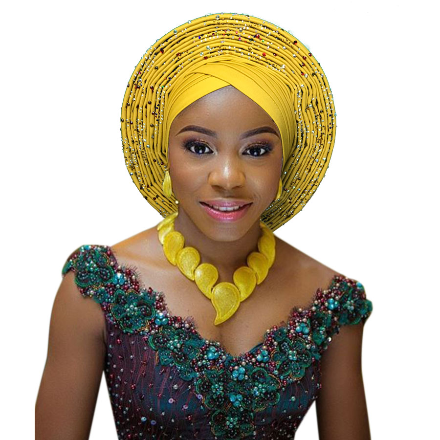 African head tie nigerian head tie auto gele headtie fashion african turban head wrap studded stoned african headtie (3)