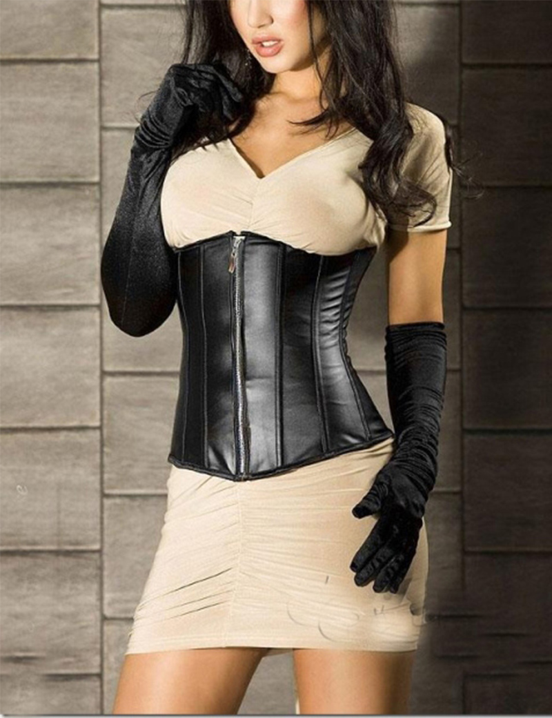 Burlesque Steampunk Sexy Black Leather Corsets And Bustiers Zipper Front Underbust Corselet Waist Corset Plus Size Size S-2XL