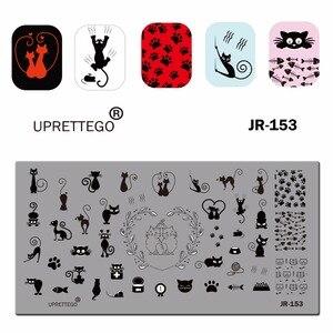 Image 5 - 2019 paslanmaz çelik tırnak yapıştırması şablon rus cümle kedi çiçek köşe noel meyve piksel desen tırnak aracı JR151 160