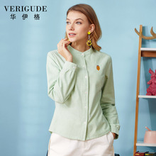 Veri Gude Plus Size Women Blouses and Shirts Long Sleeve Vintage Oxford Blouse and Shirts 100% Pure Cotton Loose Solid Blouse