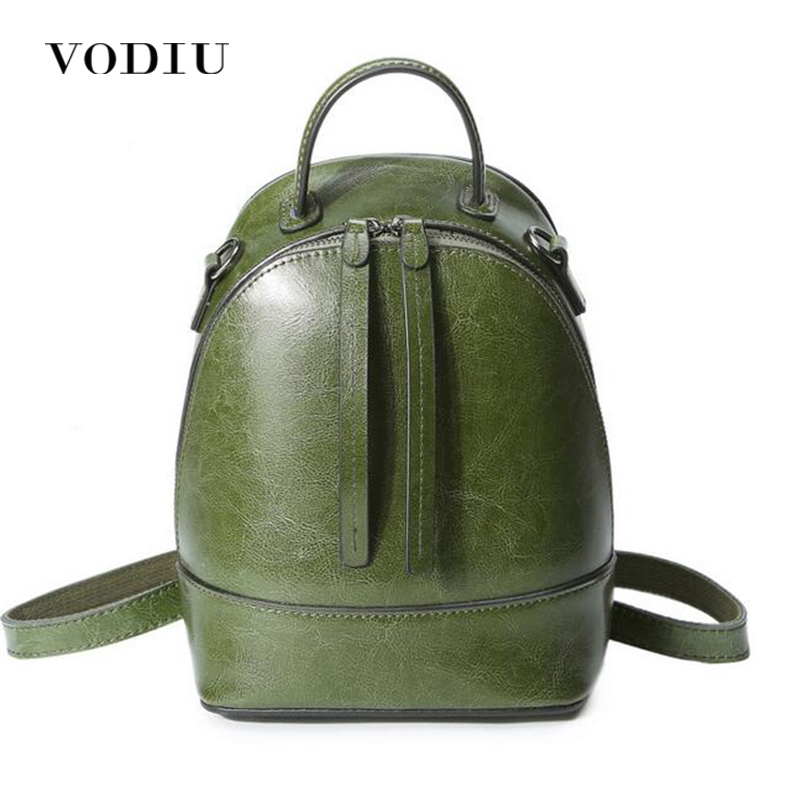 Women Backpacks Genuine Leather Bagpack Feminine Backpack School Bags For Teenage Girls Zipper Oli Wax Cowhide High Quality 2018
