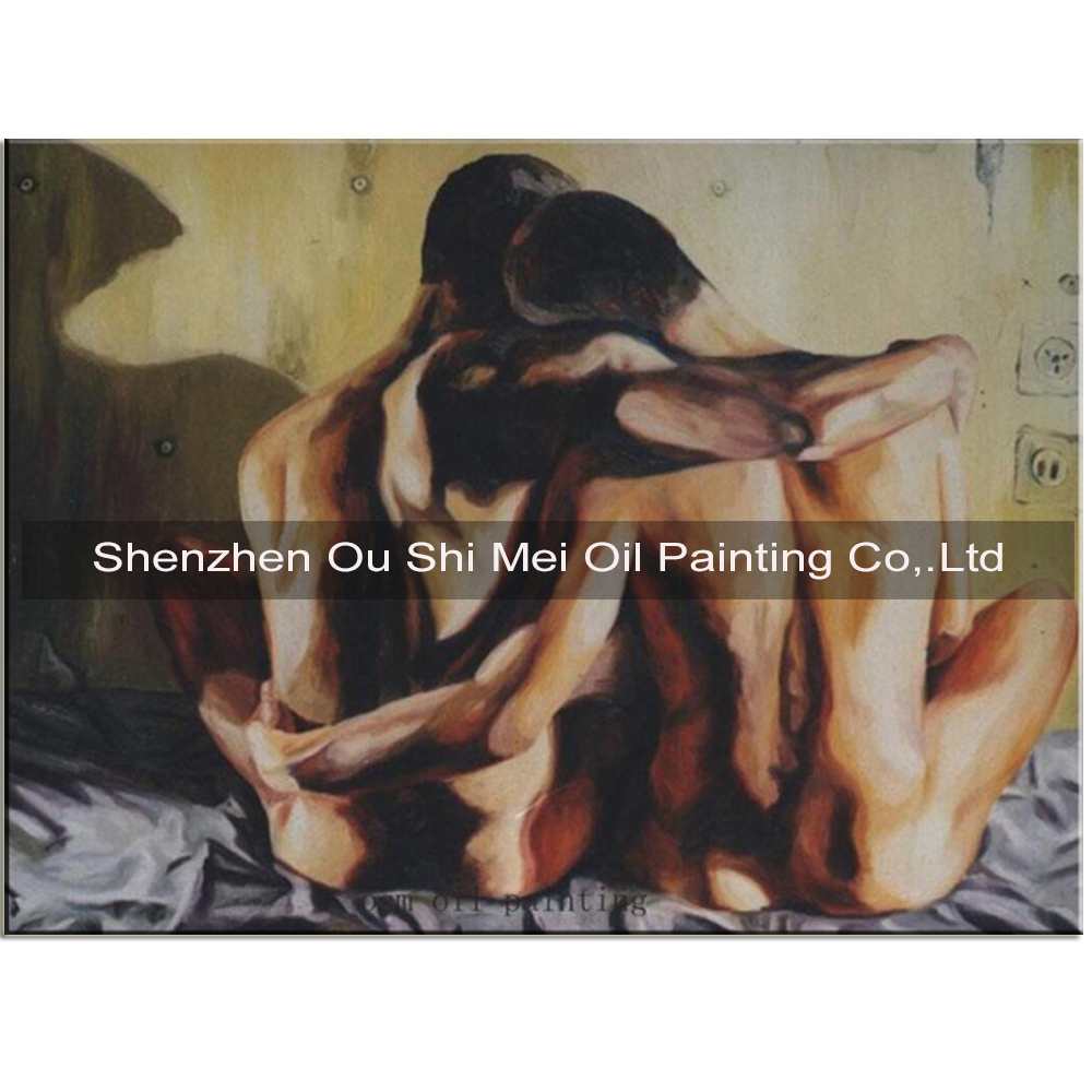 Hand-painted Art Gay Couple Hugs Nude Oil Painting on Canvas Palette Knife Portrait Canvas Painting in Painting Calligraphy