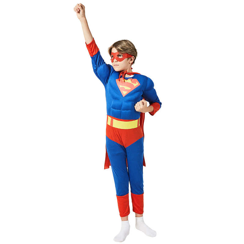 Complete Child Classic Muscle Superman Costume ​Boys Halloween Superhero Cosplay Fancy-Dress Kids Carnival Party Dress-up