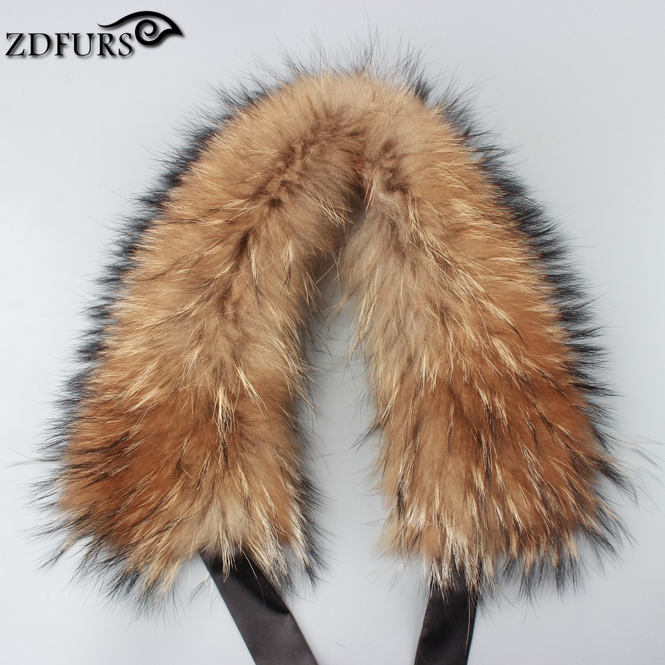 ZDFURS * Genuine real Winter Raccoon Fur   Scarf     Scarves     Wrap   Neck Warmer Shawl raccoon Collar 50cm long with black ribbon