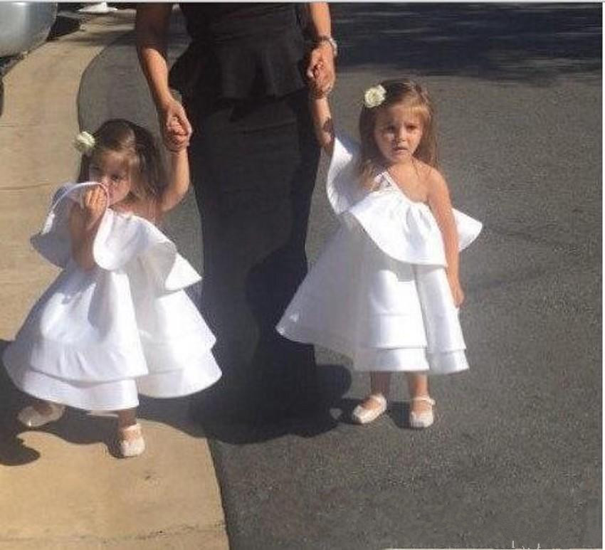Flower     Girl     Dresses   For Cute Baby Kids Cheap Satin Communion kate Middleton Vintage Church Junior Birthday Wedding Party Gowns