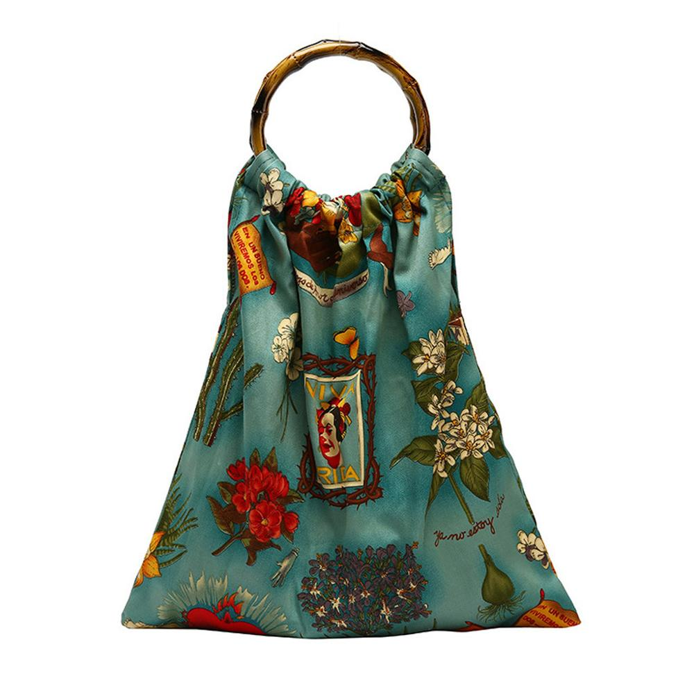 Pattern-Bag Tote Vintage-Bag Green-Handbag Bamboo-Handle Retro Large-Capacity Personality