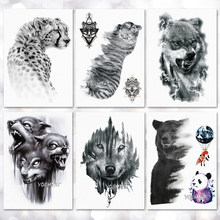 072bf6e08 Tiger Wolf Leopard Pattern Temporary Tattoo Stickers Waterproof Women Fake  Hand Tattoos Adult Men Body Art