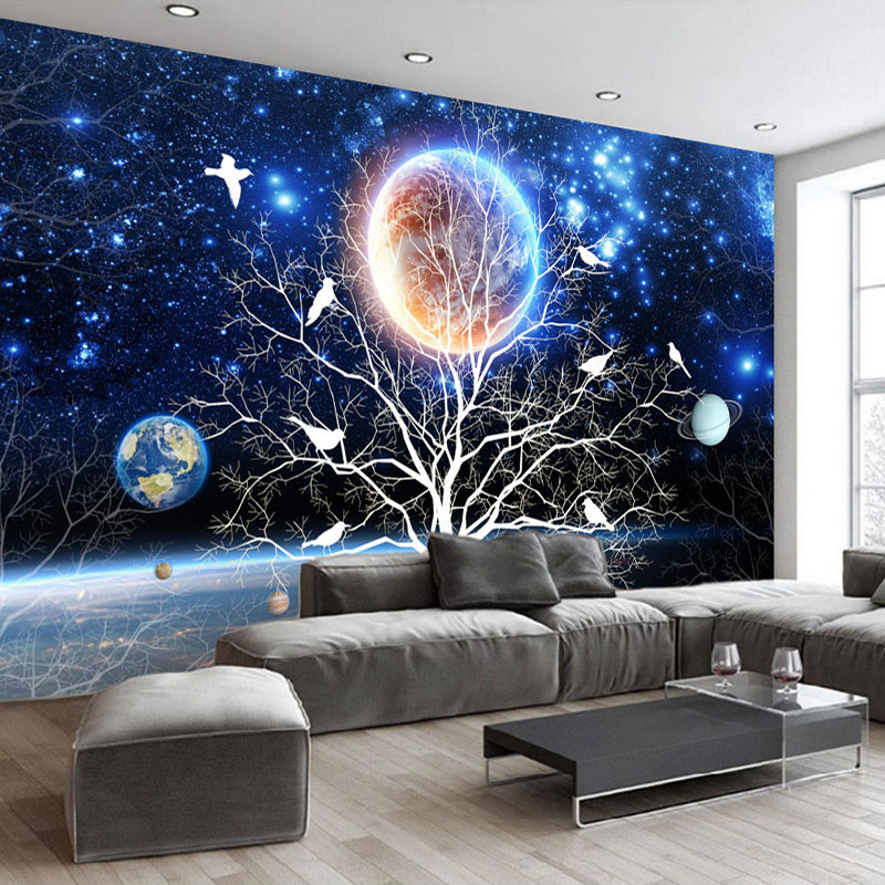Custom Photo Wall Paper 3D Star Sky Abstract Tree Birds Living Room TV Background Wall Decoration Wall Mural Wallpaper Painting