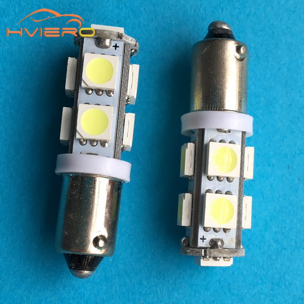 10Pcs Car Marker Lamps T11 Ba9s T4w 9SMD 5050 LED Auto Door Light Dashboard bulb DC 12V white License plate light Trunk Light 4pcs car w5w t10 led light 48 3014 smd side marker lamps warm white clearance lights bulb dc 12v