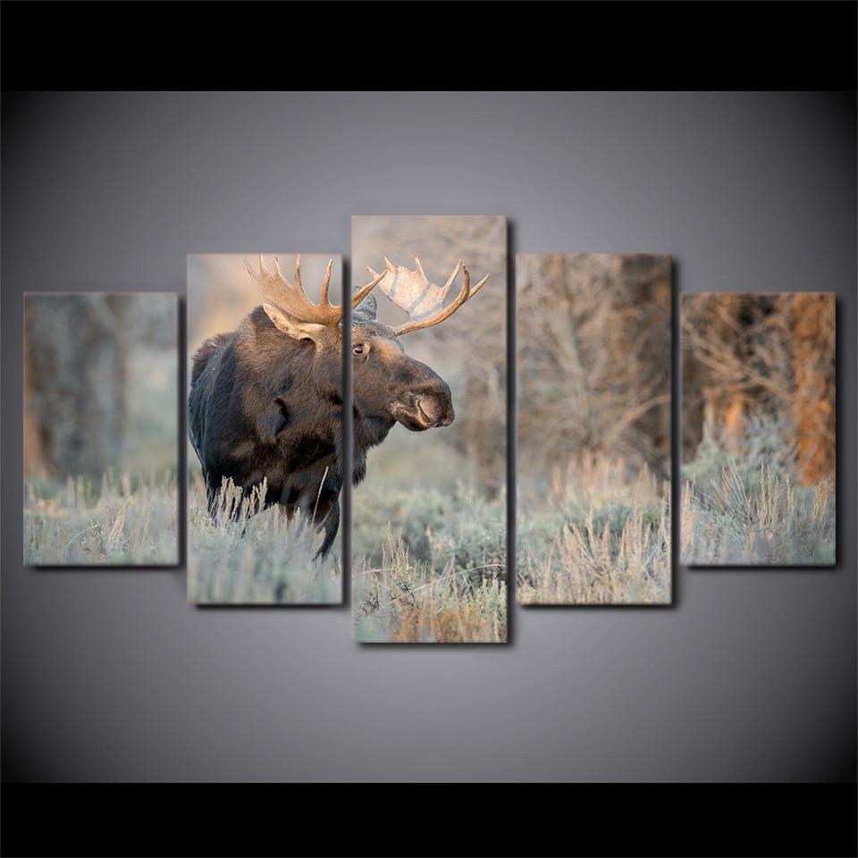 5 Teile/satz Gerahmte HD Gedruckt Deer Tier Landschaft Wand Leinwand ...