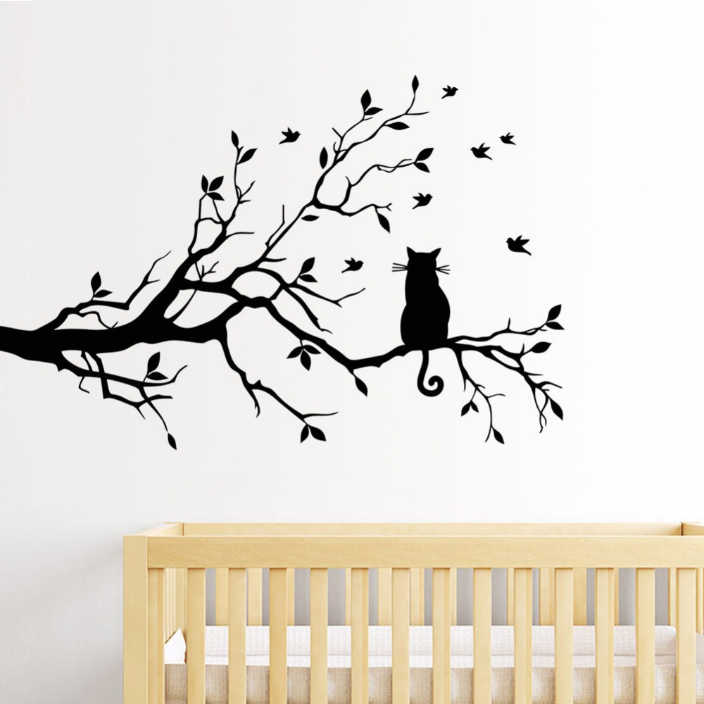 Aliexpress.com : Buy Cat On Tree Branch Birds Wall Sticker Vinyl Decal  Mural Glass Film Window Stickers Home Decoration Wall Art Design Stickers  From ... Part 90