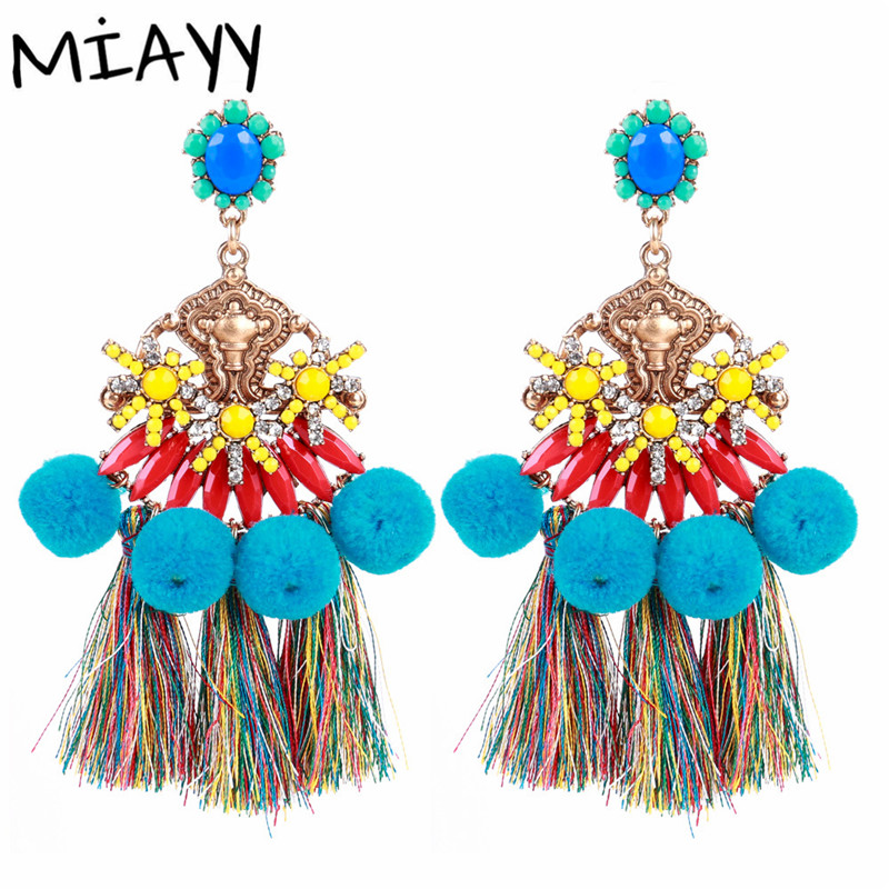 Bohemian Earrings For Women Pompon Big Earrings Zinc Alloy Beads Vintage Dangler Costume Jewelery Earring Wedding party Eardrop