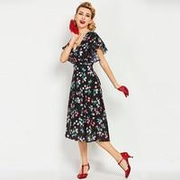 Sisjuly Vintage Dresses 1950s 60s Summer Mid Calf Women Black Butterfly Sleeves Floral Print V Neck