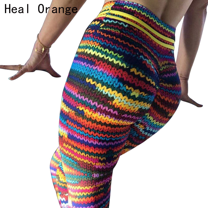 HEAL ORANGE Print Women Sport Compression Leggings Elastic Pants for Running Gym Fitness Dry Quick Workout Pants Sport Tights b bang women sport running pants gym tights for female fitness leggings quick drying trousers elastic capris ropa deportiva