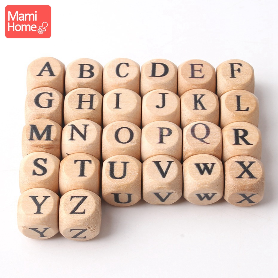 Mamihome 10pc Wood English Letter Beads Baby Teething Chew Toy DIY Making Nursing Bracelet Necklace Gifts Children'S Goods Toys
