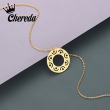 Chereda Round 3 Color Women Necklace&Pendant for Men Fashion Stainless Steel Simple Geometric Chain Necklaces