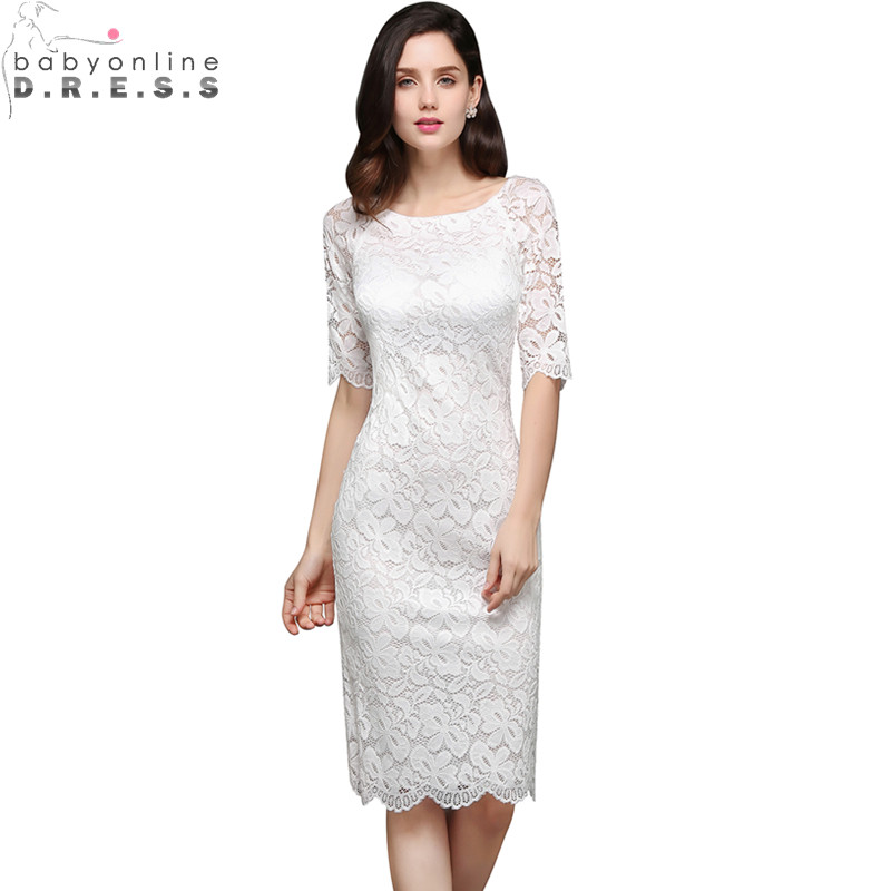 Sexy Sheer Half Sleeve Appliques Lace Short   Prom     Dresses   Real Image O Neck Evening Party   Dresses   Robe De Soiree Courte