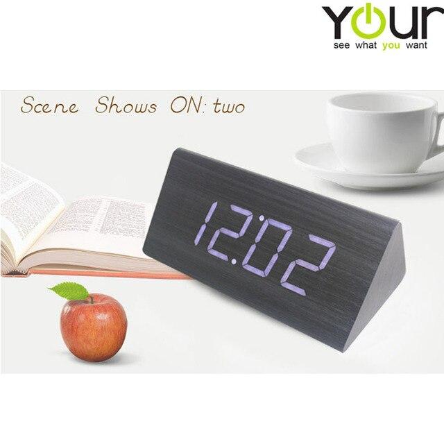 4a3e9d4a4ca0 Wholesale Modern Calendar Thermometer Wood Wooden LED Digital Voice Alarm  Clock