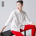 Toyouth Nova Chegada Mulheres Gola Camisas de Algodão Ocasional Dos Desenhos Animados Impresso Blusas Camisas Outono
