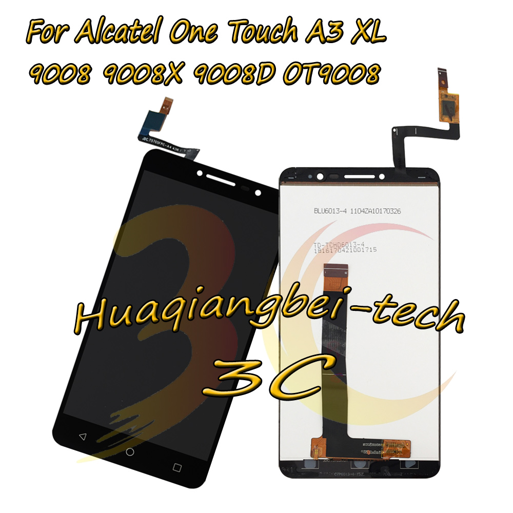 6.0'' New For Alcatel One Touch A3 XL 9008 9008X 9008D OT9008 Full LCD DIsplay + Touch Screen Digitizer Assembly 100% Tested