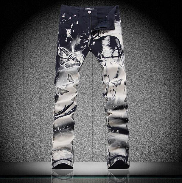 Black spring thin Stage Beauty Butterfly Printing jeans mens slim elastic denim pants male jeans feet