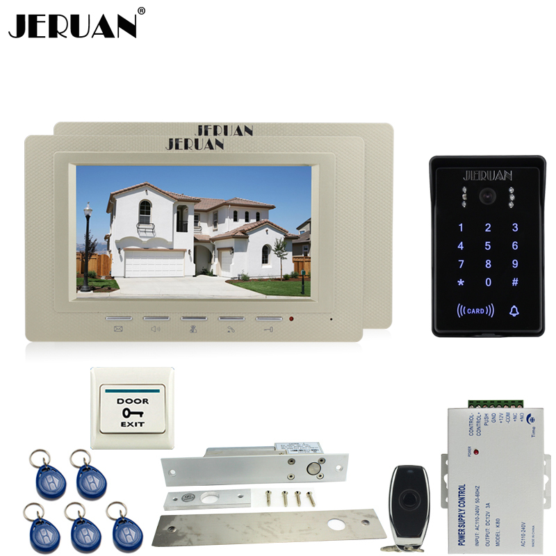 JERUAN 7 inch video door phone intercom Entry system Kit 2 house RFID waterproof touch key password keypad access camera +power jeruan new 7 inch touch key color video intercom entry door phone system rfid access doorbell camera 1 monitor in stock