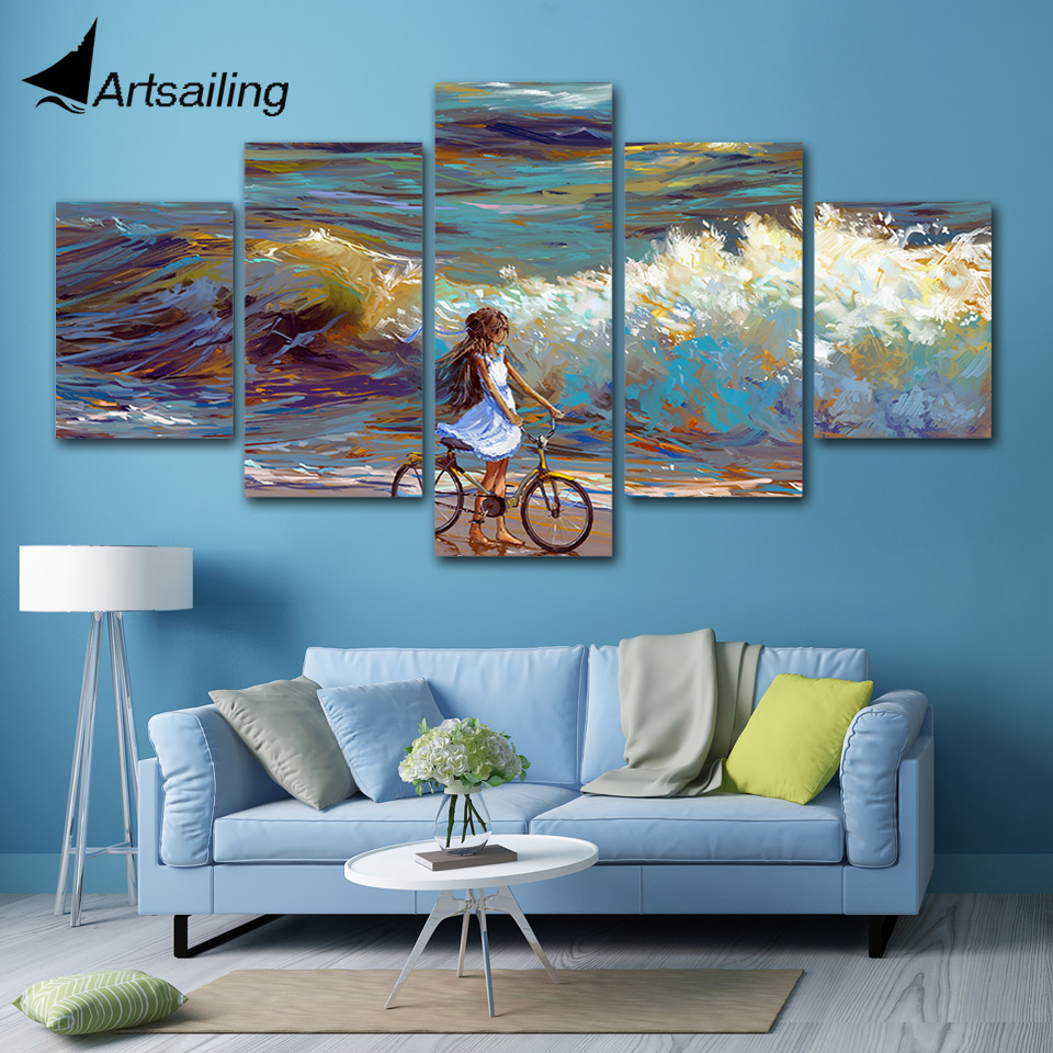 5 piece canvas art sea water bicycle sky painting home ...