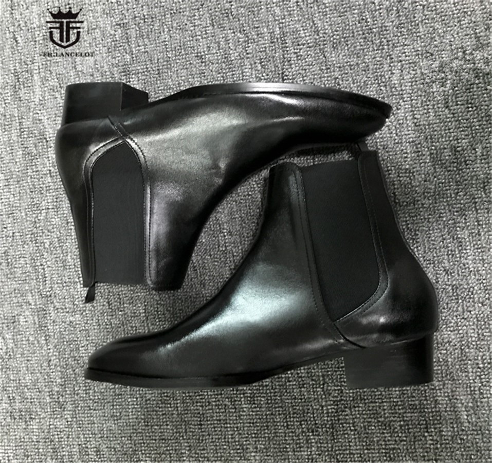 High End Handmade Classic Black Elastic Slip On Cow Leather  Wedge Chelsea Men Boots Patchwork  Pointed Toe Elegant Boots