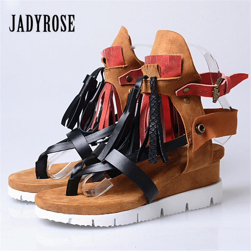 Jady Rose Fringed Female Sandals Beach Flip Flops Genuine Leather Summer Gladiator Sandal Platform Wedge Shoes Woman Wedges female gladiator wedges sandal hallow out platforms high wedge shoes women rivets summer sandal beach vintage women size 34 39