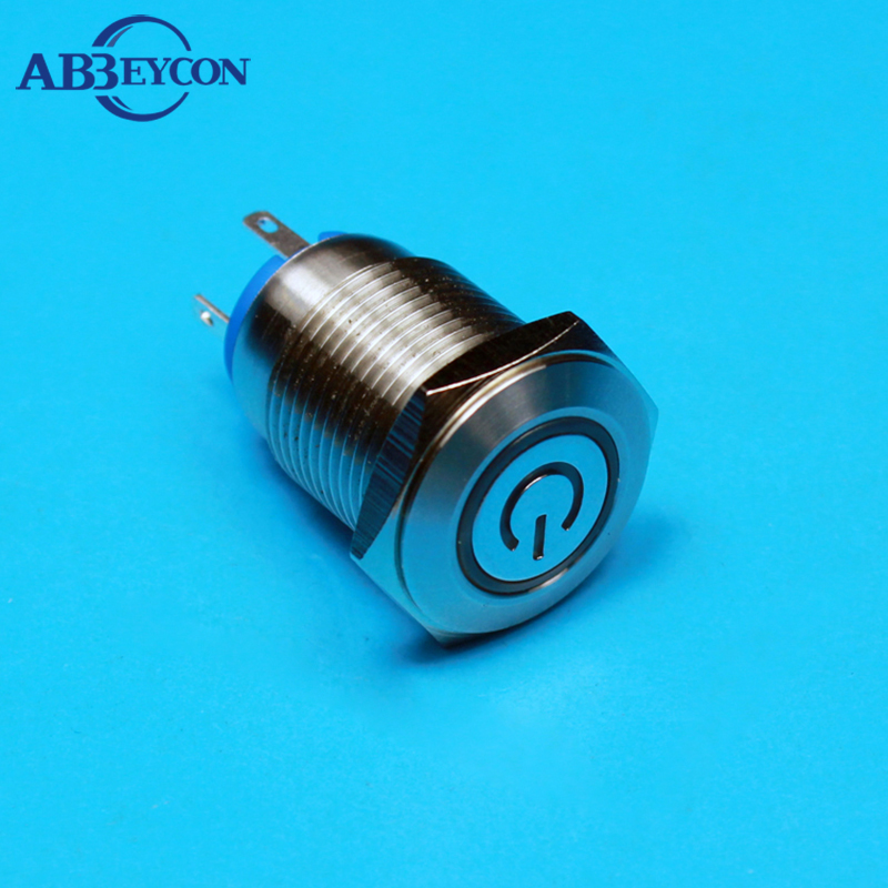 TY 1667 12V white led button 16mm power switch momentary led push button switch ring and
