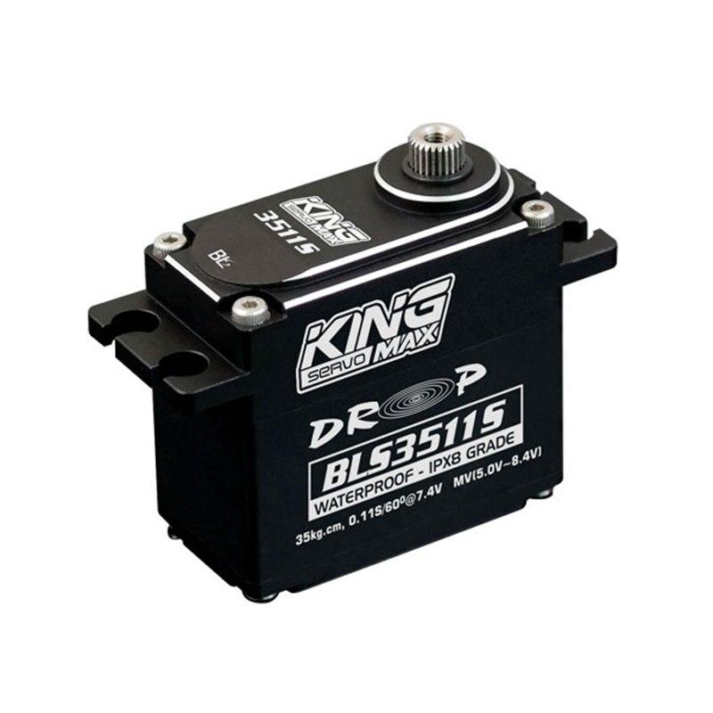 KINGMAX BLS3511S 83g 40kg digital steel gears IPX8 grade waterproof servo brushless motor full CNC case for RC cars boats цена