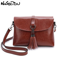 NIGEDU Genuine Leather Women Messenger Bag with tassel Fashion Small Crossbody Bag For Girl Simple Design Female Shoulder Bag