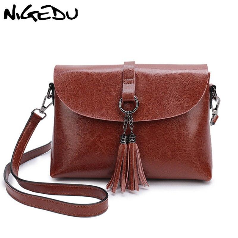 NIGEDU Genuine Leather Women Messenger Bag with tassel Fashi