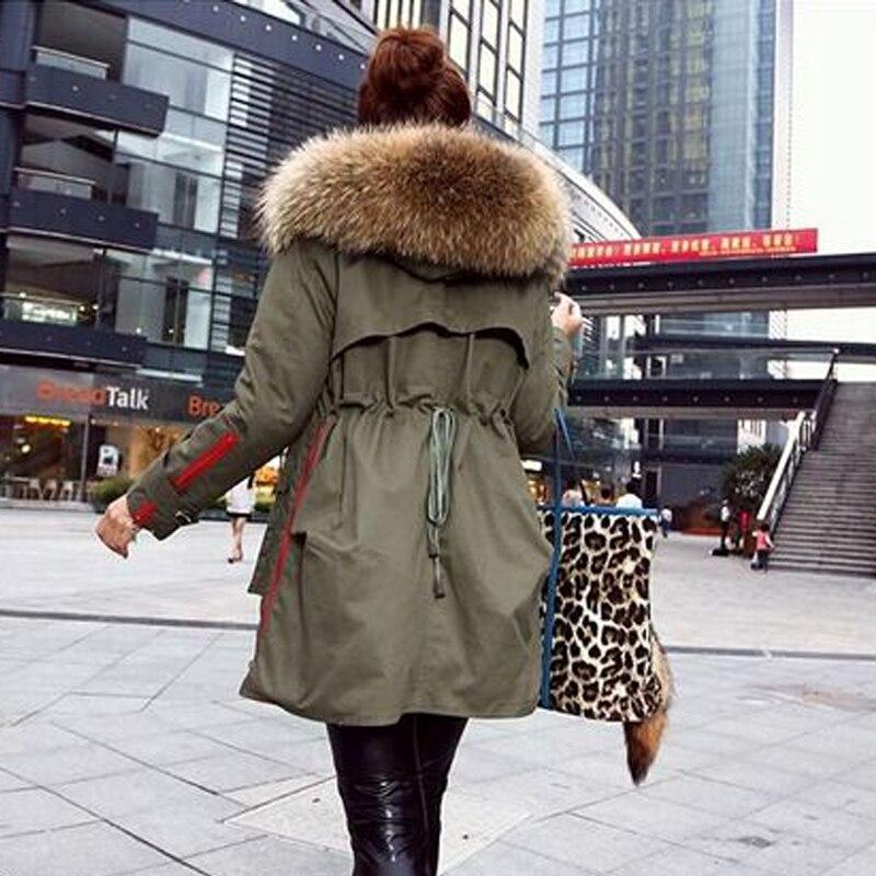 Alta Calidad Grande Raccon Fur Real Natural  Nueva Moda WomenThick Invierno Capa